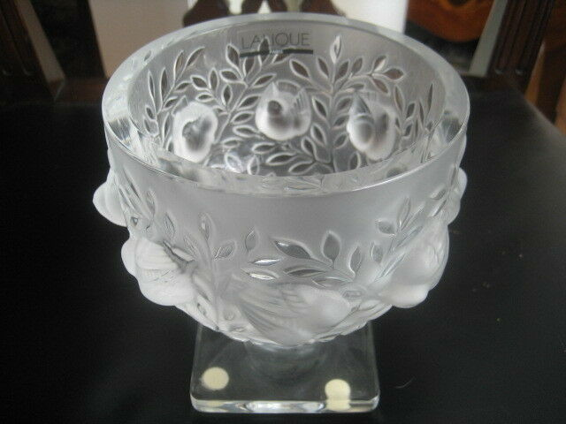 Lalique France Frosted Footed Vase With Birds Ebay