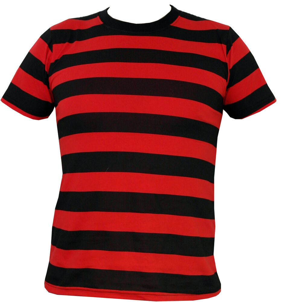 mens black and red striped t shirt ebay