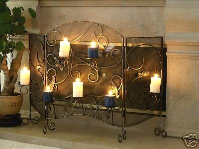 Wrought Iron Fireplace Screen With Candle Holder Ebay