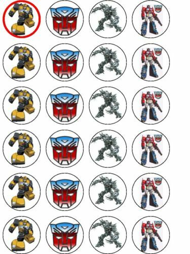 Transformers Cake Decorations Uk : 24xTRANSFORMERS RICE PAPER BIRTHDAY CAKE TOPPERS eBay