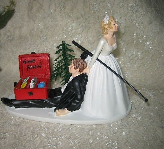 Wedding Reception Engagement Party Fisherman Fishing Pole Tackle Box Cake Top
