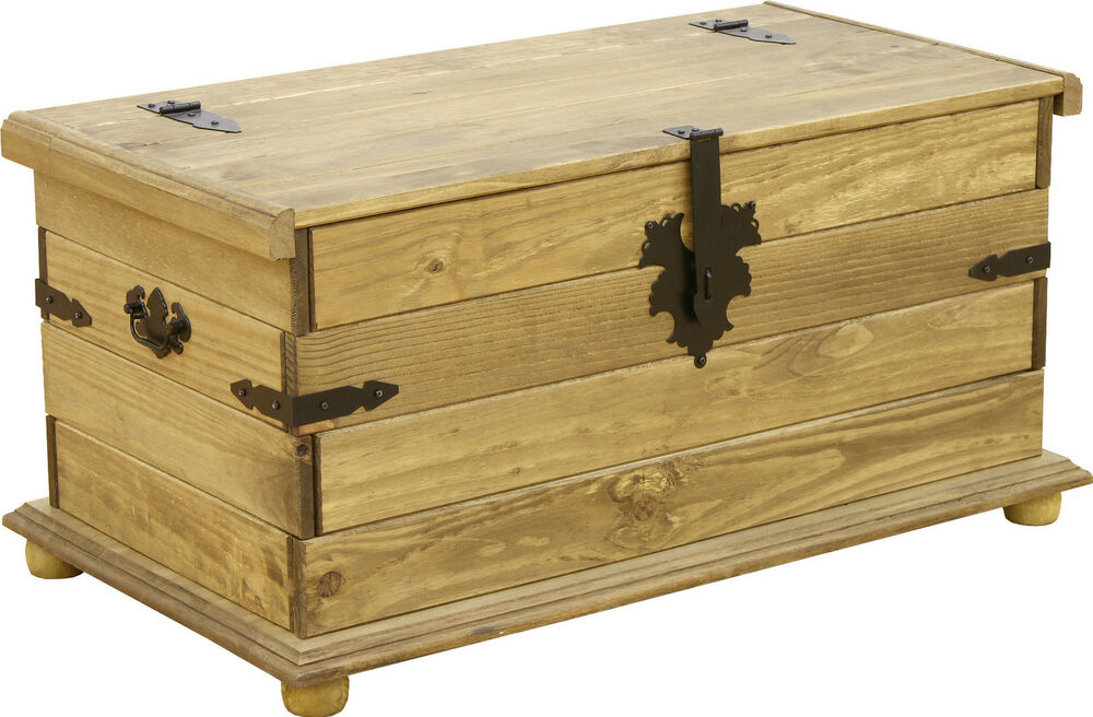 Corona Storage Chest Trunk Ottoman Coffee Table Pine Ebay