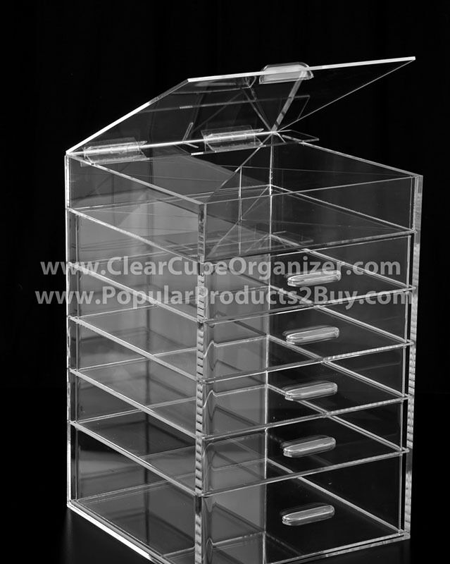 ACRYLIC LUCITE CLEAR CUBE MAKEUP ORGANIZER W/DRAWERS  eBay