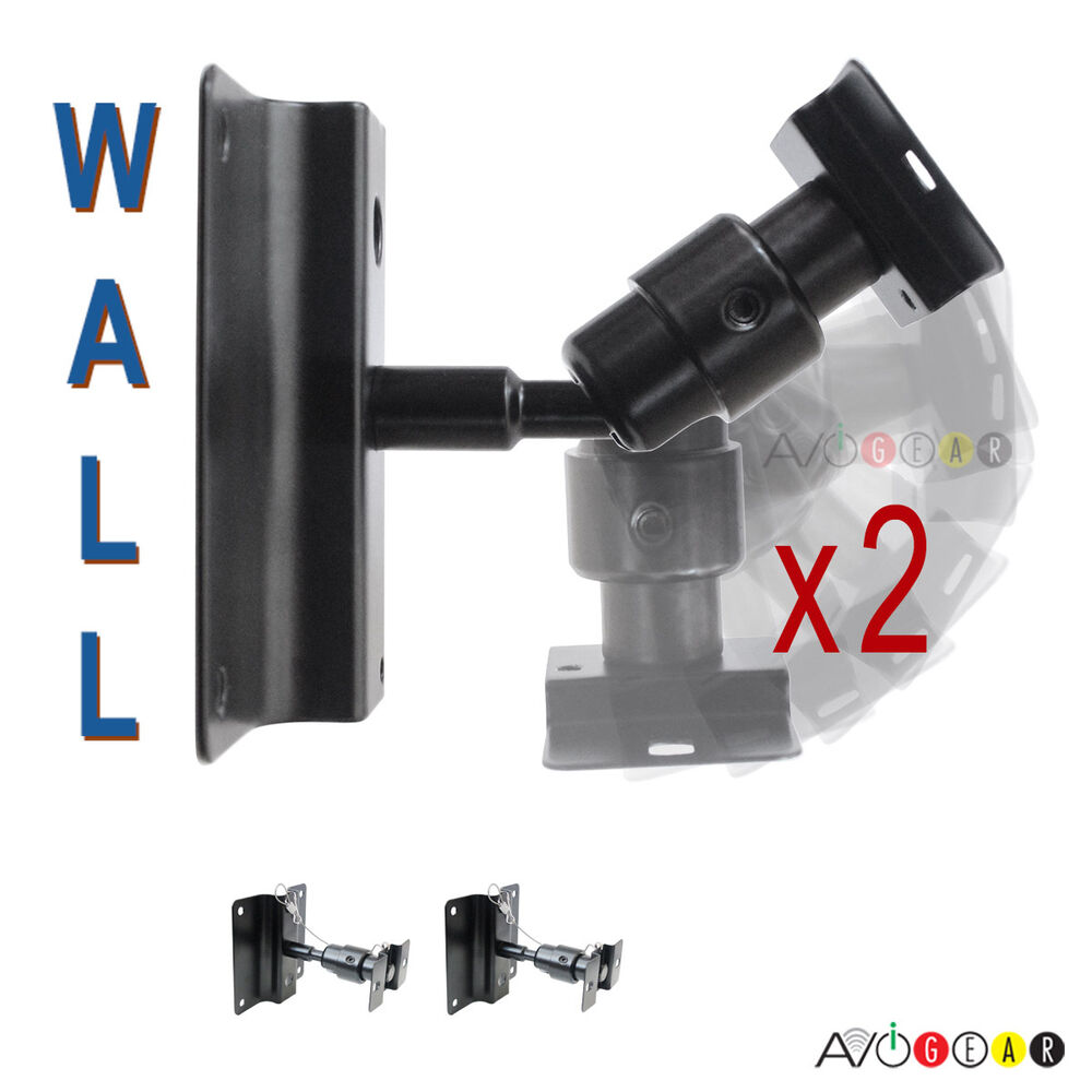 New 2 Universal Speaker Wall Mount Brackets Swivel Ball Ebay