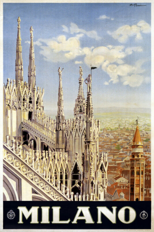 vintage travel poster milano italy room art decor house