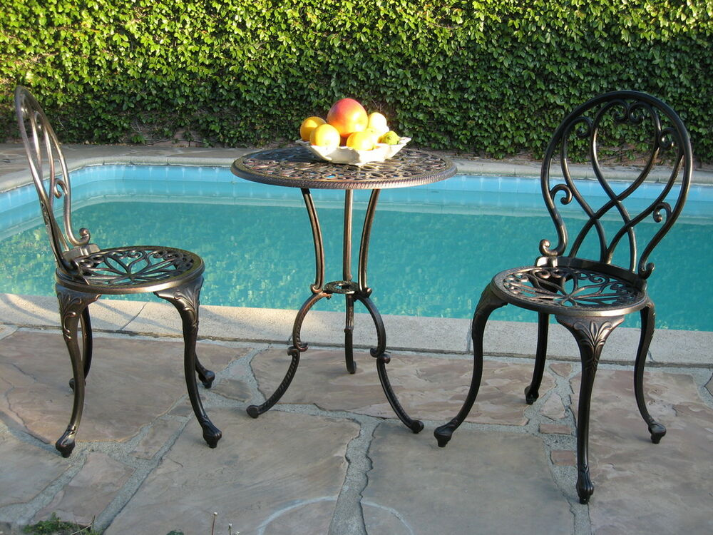 bistro set for outdoor patio aluminum furniture 3 pc b ebay