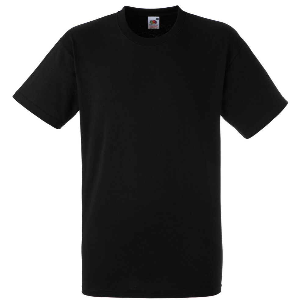 plain black fruit of the loom t shirt s m l xl xxl ebay. Black Bedroom Furniture Sets. Home Design Ideas