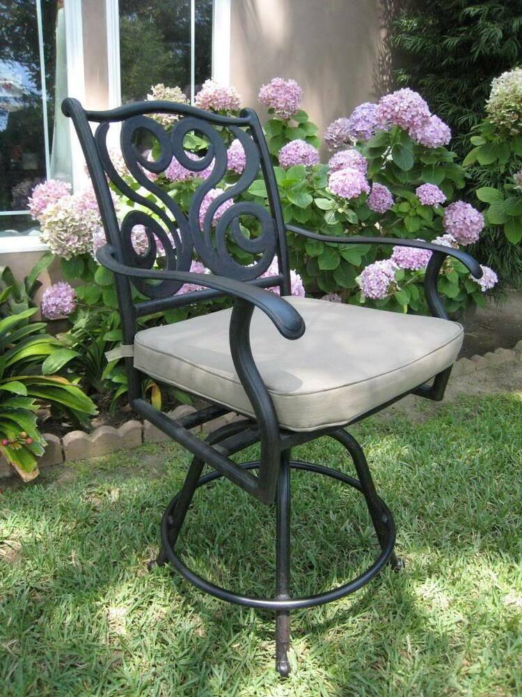 4 Outdoor Counter High Patio Furniture Cast Aluminum Swivel Bar Stool CBM PR