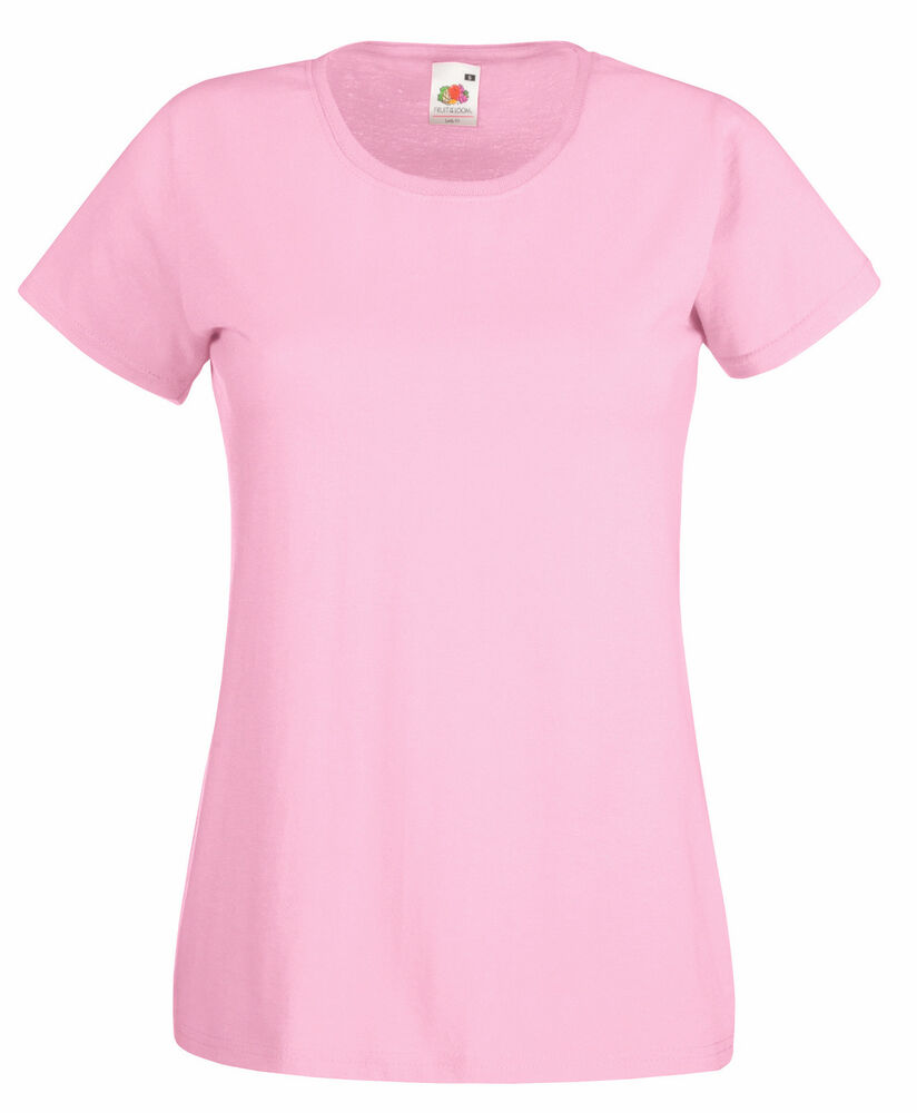 Light pink fruit of the loom ladies t shirt s m l xl ebay for Pink ladies tee shirts