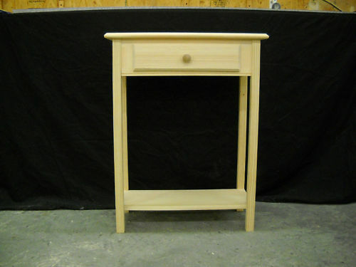 Unfinished 24 sofa console foyer beveled edge pine table for 24 wide console table