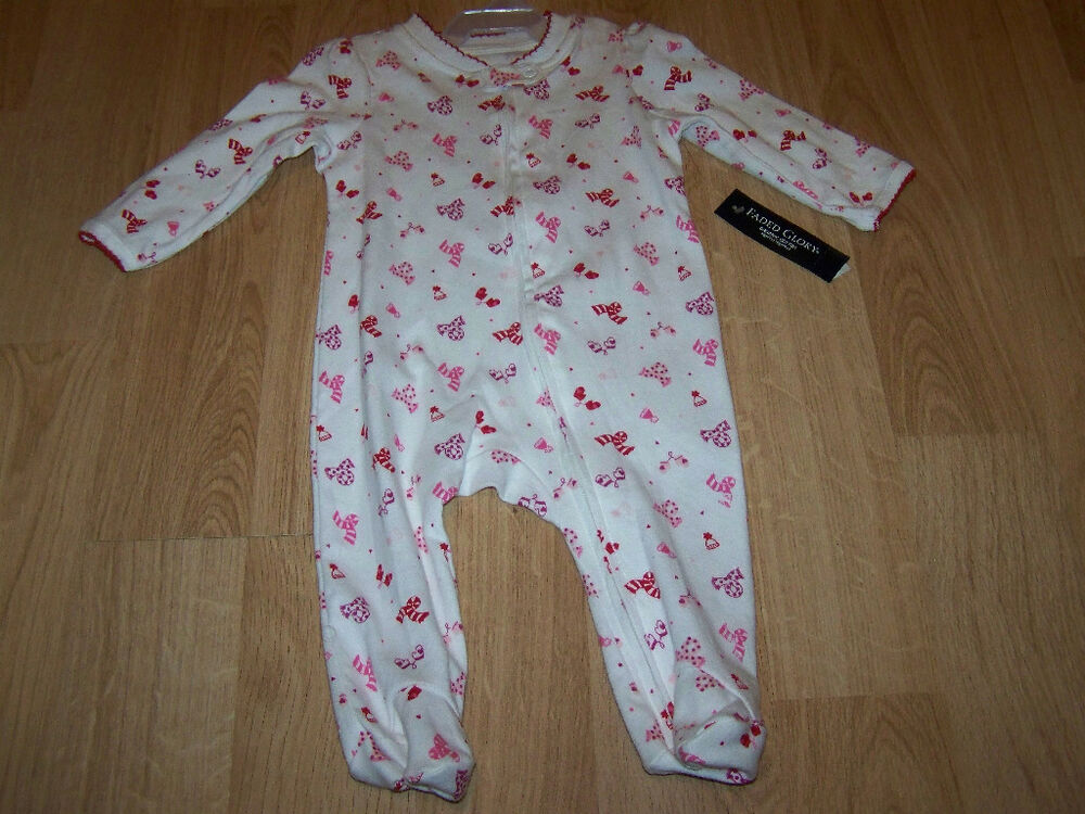 Size NB Newborn Girls Infant Footed One-Piece Sleeper ...