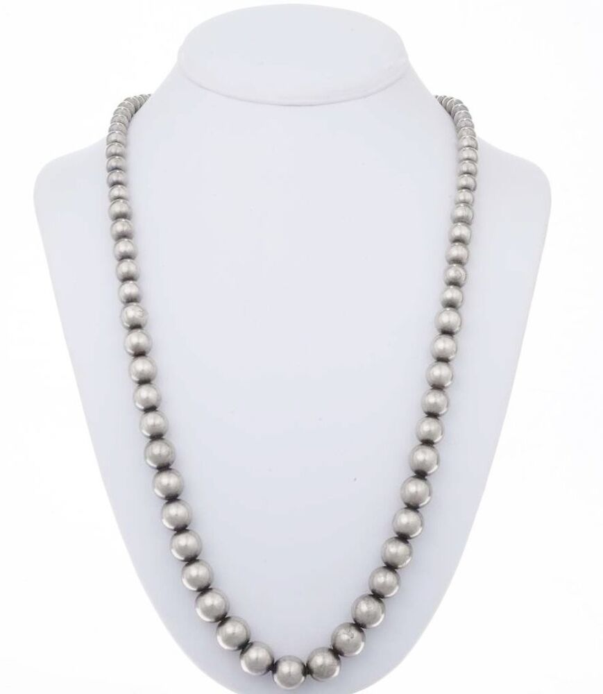 navajo desert pearl necklace 24 quot antiqued sterling silver