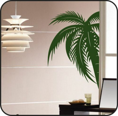 large palm tree vinyl wall decal sticker art lettering ebay. Black Bedroom Furniture Sets. Home Design Ideas