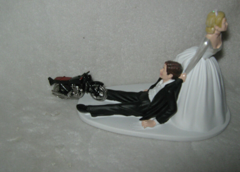 Wedding Party Reception Motorcycle Cake Topper Biker Hog