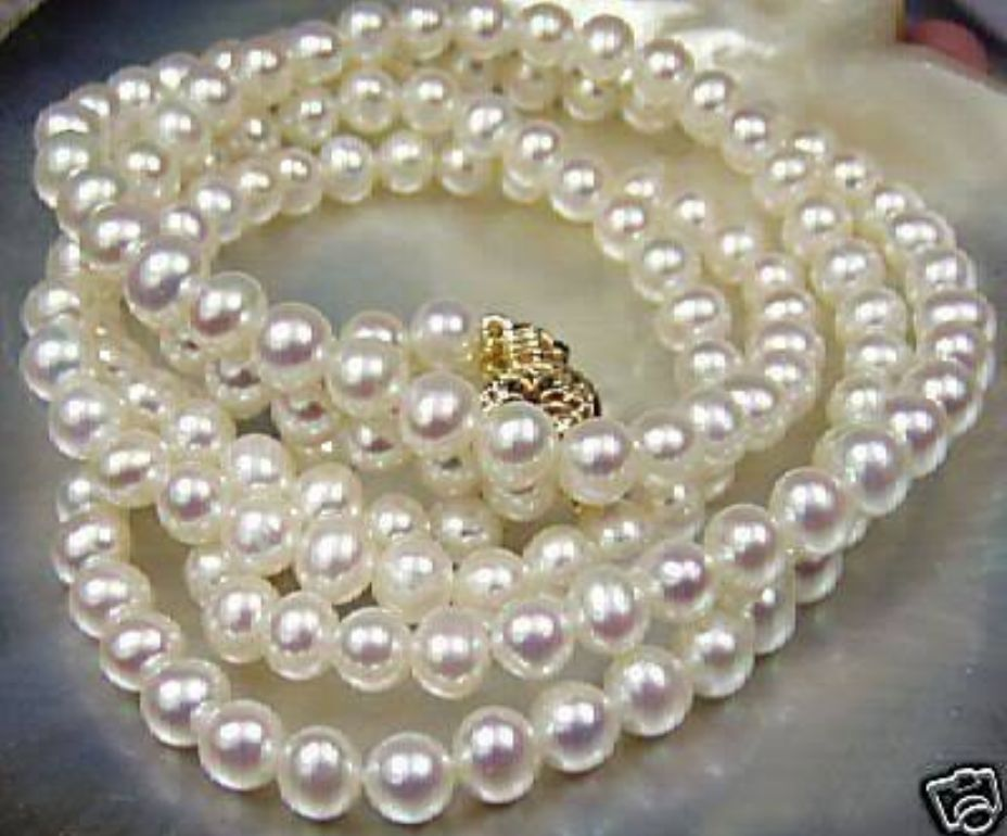 Beautiful!7-8mm White Akoya Cultured Pearl Necklace 25"
