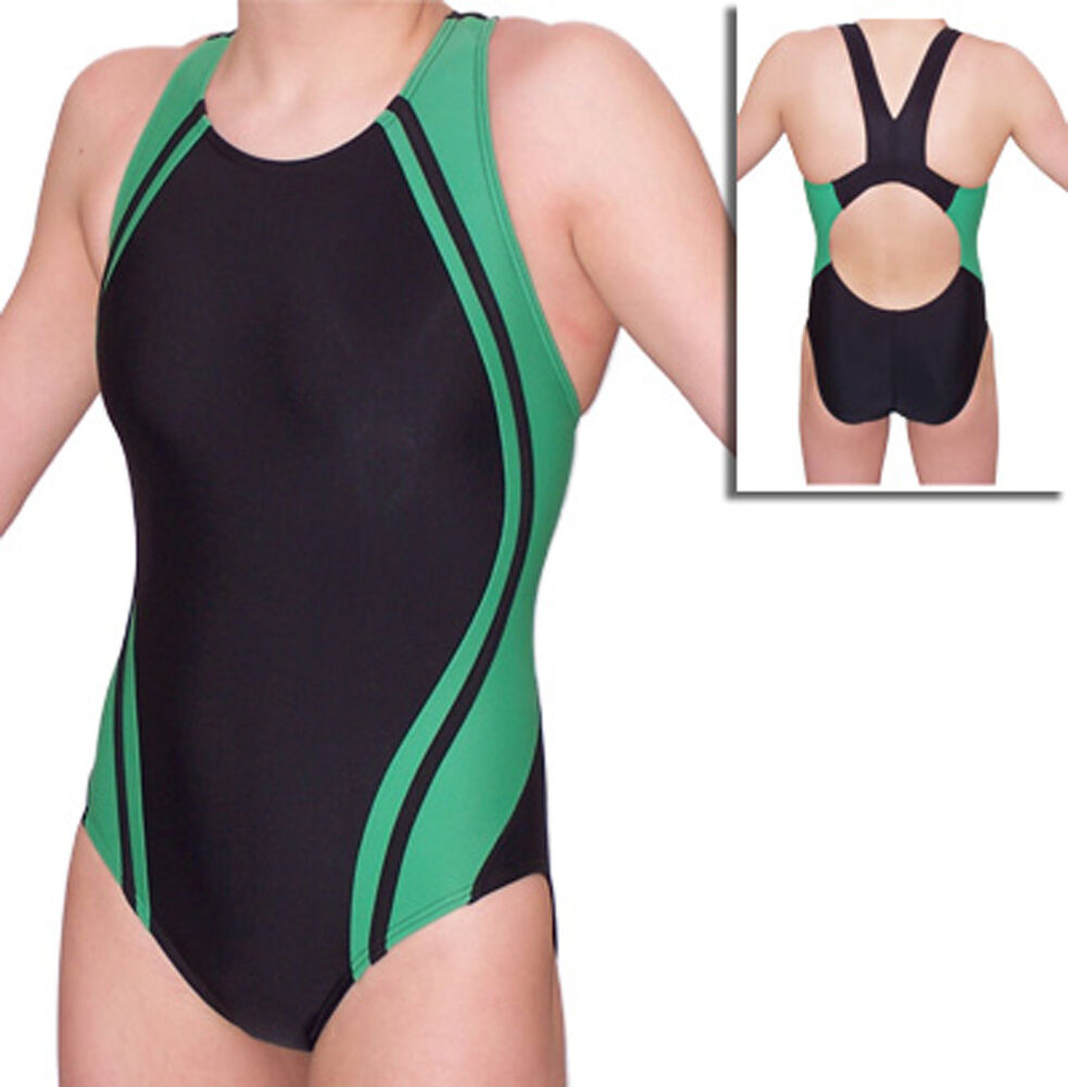 Women Green Splice Competition Swimsuit Sizes 22