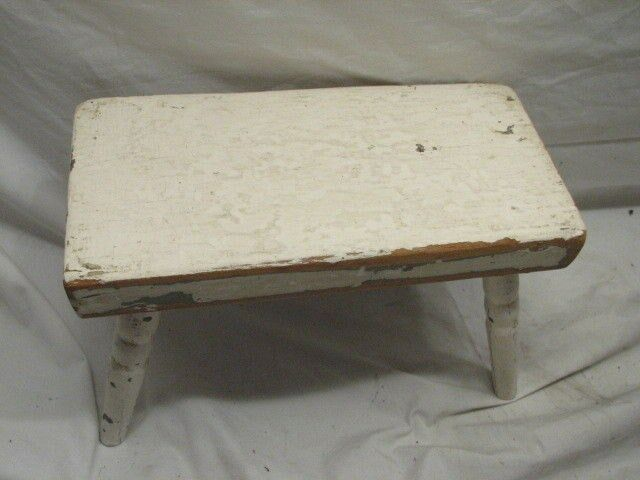 Early Child S Primitive Wood Foot Stool Antique Bench Ebay