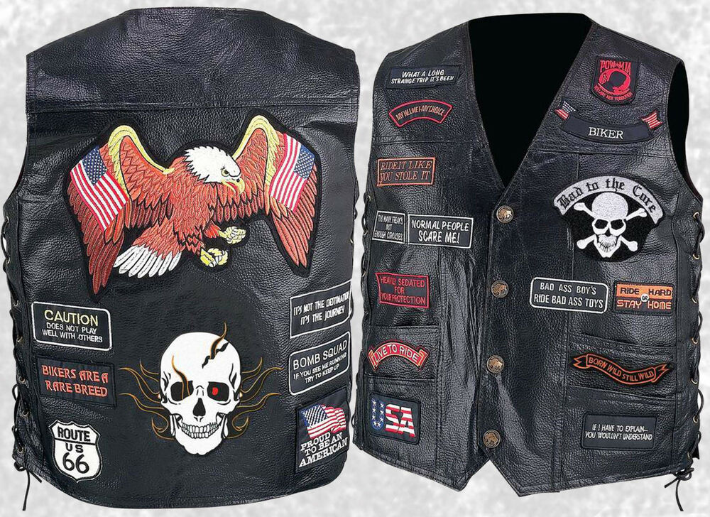 Biker Vest Patches >> Mens Black Leather Motorcycle Vest Waistcoat With 23 Biker Patches