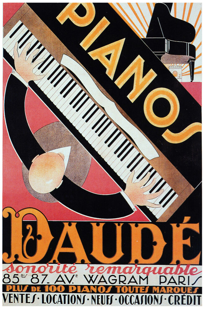 French vintage decoration design poster pianos home wall for Piani art deco