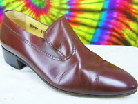 sz 8 D mens vtg STACY ADAMS brown leather loafers shoes