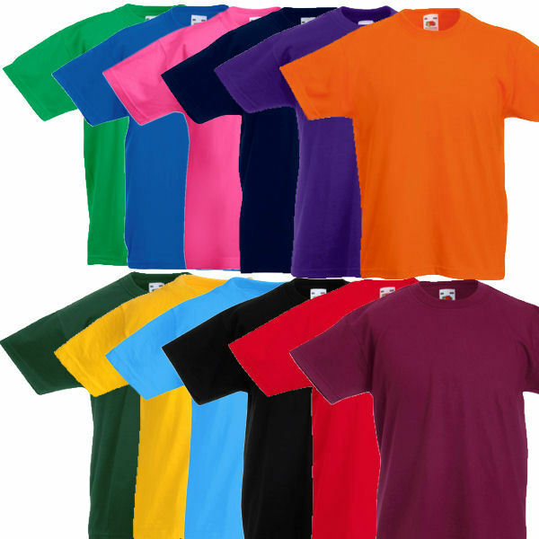 fruit of the loom kinder t shirt kids t shirts 104 116 128 140 152 164 ebay. Black Bedroom Furniture Sets. Home Design Ideas