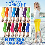 Womens Summer Cropped 3/4 Leggings Active Capri Length Stretchy Pants Sizes 8-20