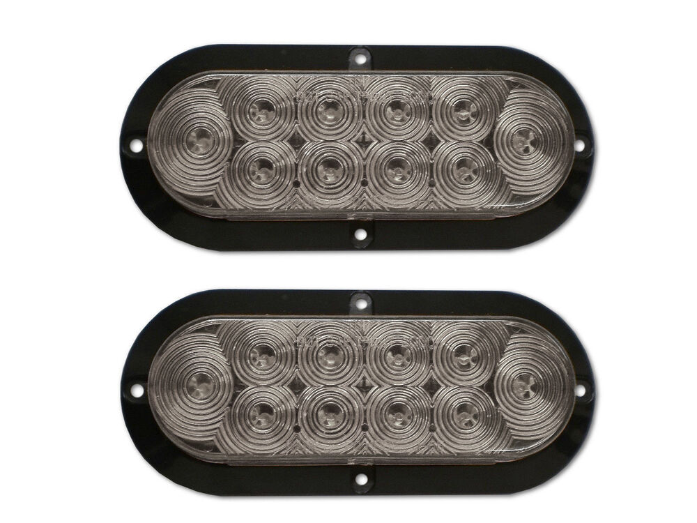 Two 6 Quot Oval Led Clear White Back Up Light Surface Mount