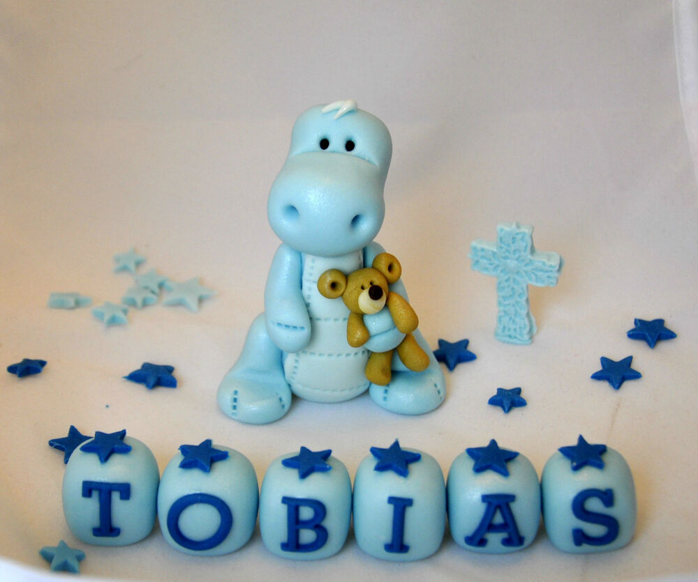 Edible baby dinosaur teddy christening cake topper for Baby footprints cake decoration