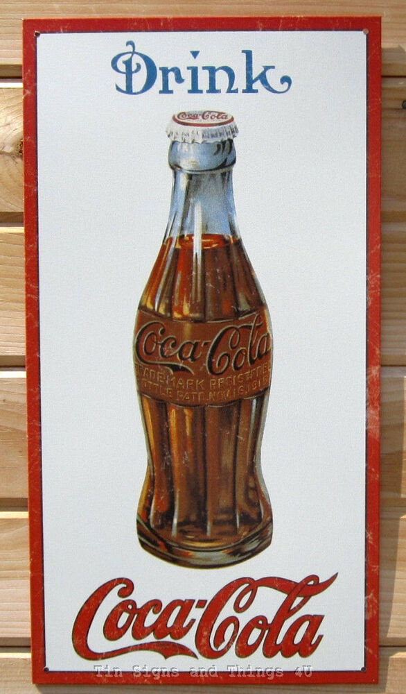 Drink coca cola tin sign metal vintage bottle art wall for Coca cola wall mural