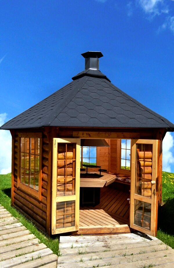 top grillhaus 9 2m mit grill blockhaus gartenhaus pavillon holzhaus garten ebay. Black Bedroom Furniture Sets. Home Design Ideas