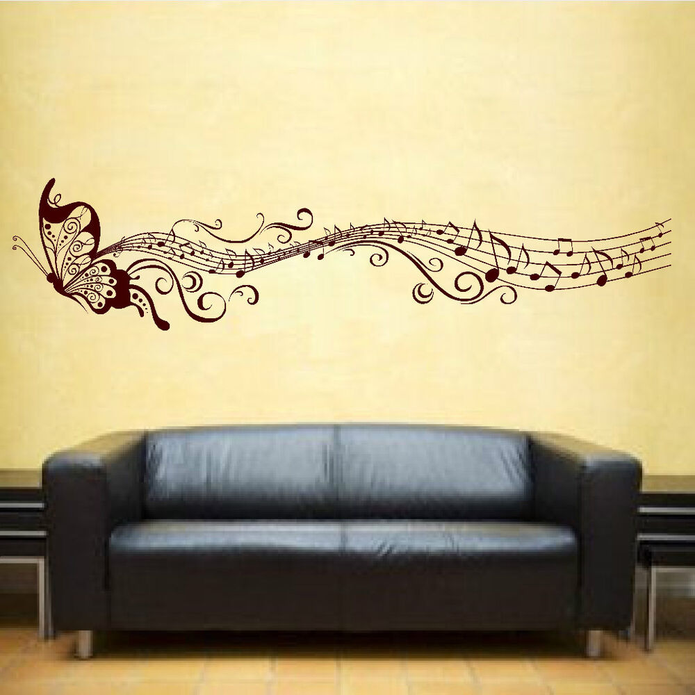 butterfly music notes vinyl sticker wall art bedroom decal 3 ebay. Black Bedroom Furniture Sets. Home Design Ideas