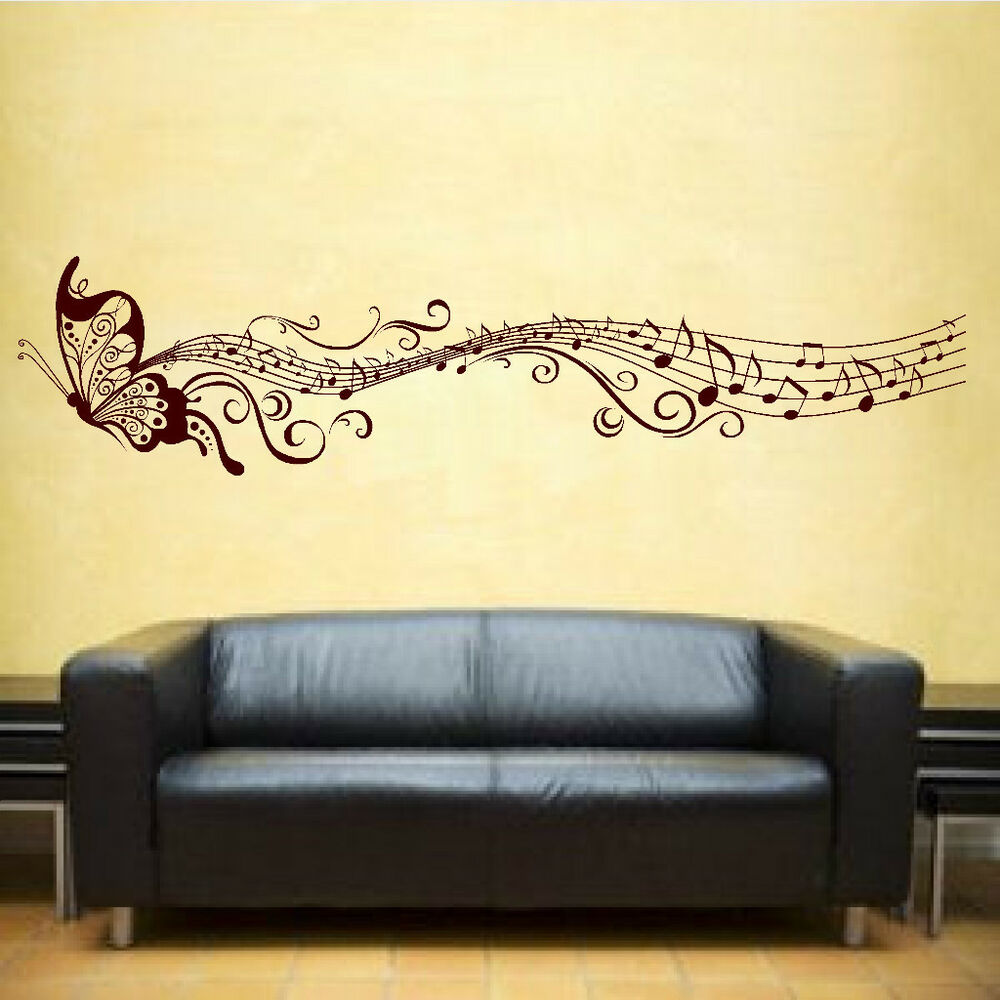 Butterfly & Music Notes Vinyl Sticker Wall Art Bedroom ...