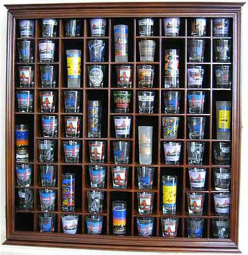 Large Wall Shadow Box Cabinet To Hold 71 Shot Glasses
