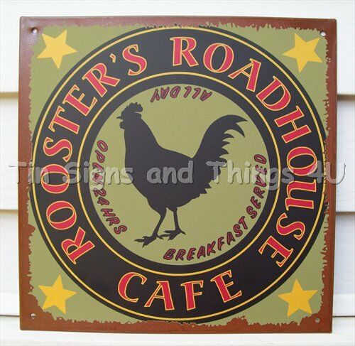 Kitchen Signs Ebay: Rooster's Roadhouse Cafe Ad TIN SIGN Metal Wall Decor