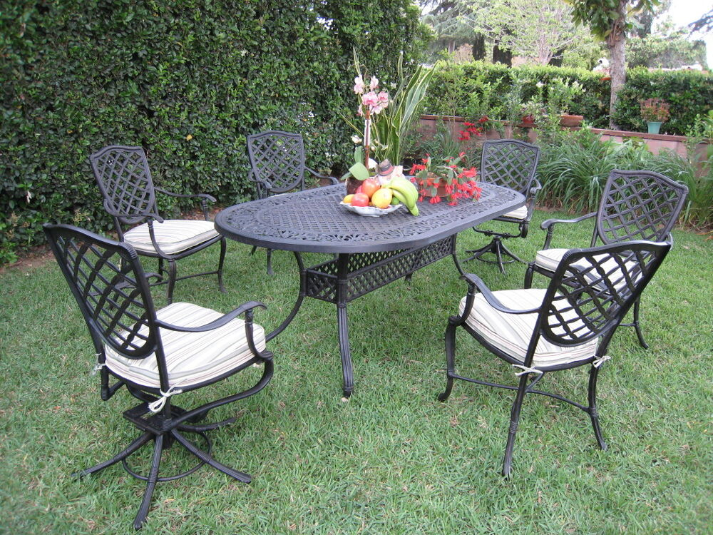 Liana cast aluminum outdoor patio furniture 7 piece dining for Outdoor furniture 7 piece