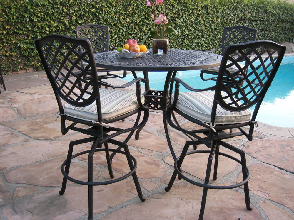 CBM Cast Aluminum Outdoor Patio Furniture 5 Piece Bar Table Set B 4 Swivel St
