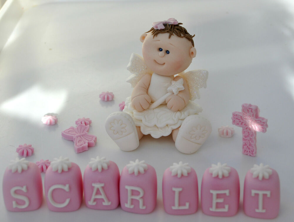 Handmade edible princess baby girl fairy christening cake for How to make edible cake decorations at home