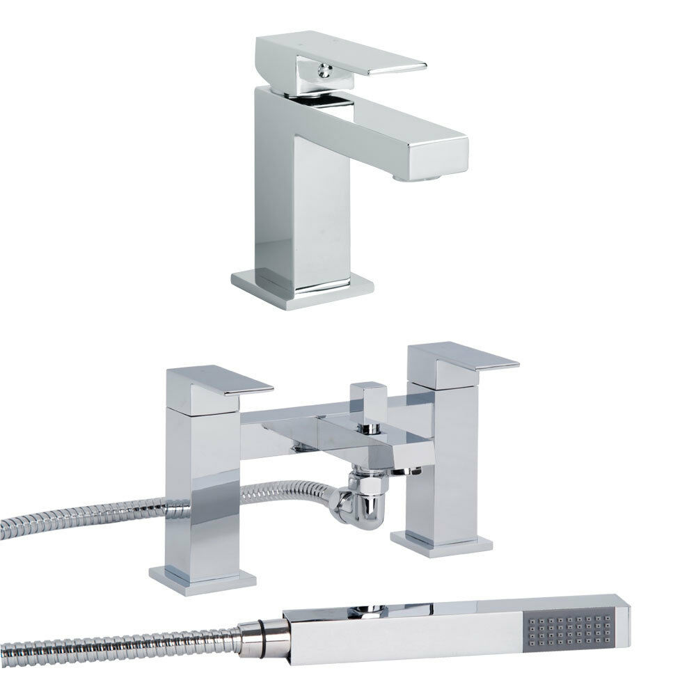 SQ Chrome Mono Basin Sink Mixer Tap & Bath Shower Mixer ...