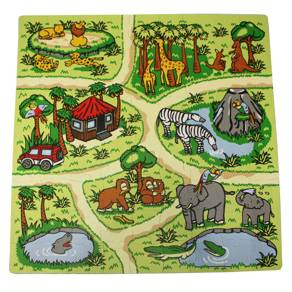 81 Piece Zoo Play Mat Kids Soft Foam Interlocking Baby
