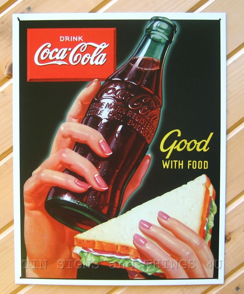 Good with food coke drink coca cola tin sign vtg ad metal for Coca cola wall mural