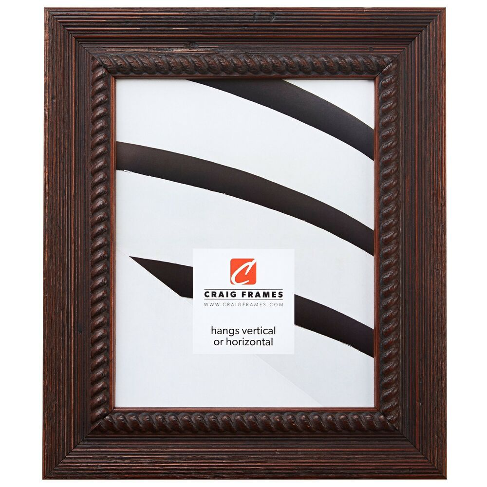 "Craig Frames Barnwood Ornate, 2"" Rustic Dark Brown Wood ..."