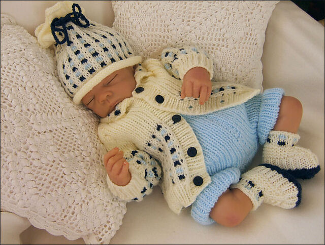 Baby Knitting Pattern DK 15 TO KNIT Jacket, Hat, Trousers & Bootees Rebor...