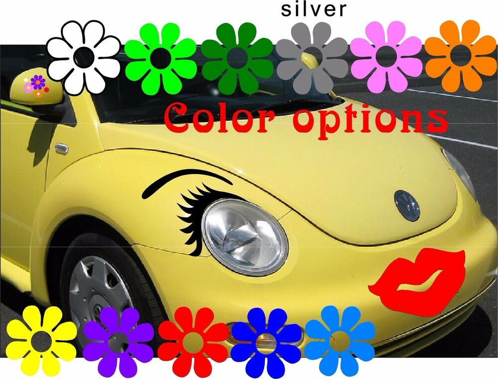 Any Car Eyelashes Headlight Eyebrows L Red Lips Face Set Volkswagen
