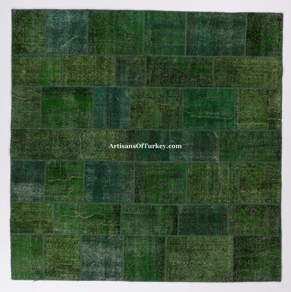 Green Color Bespoke PATCHWORK Rug Handmade From OVERDYED