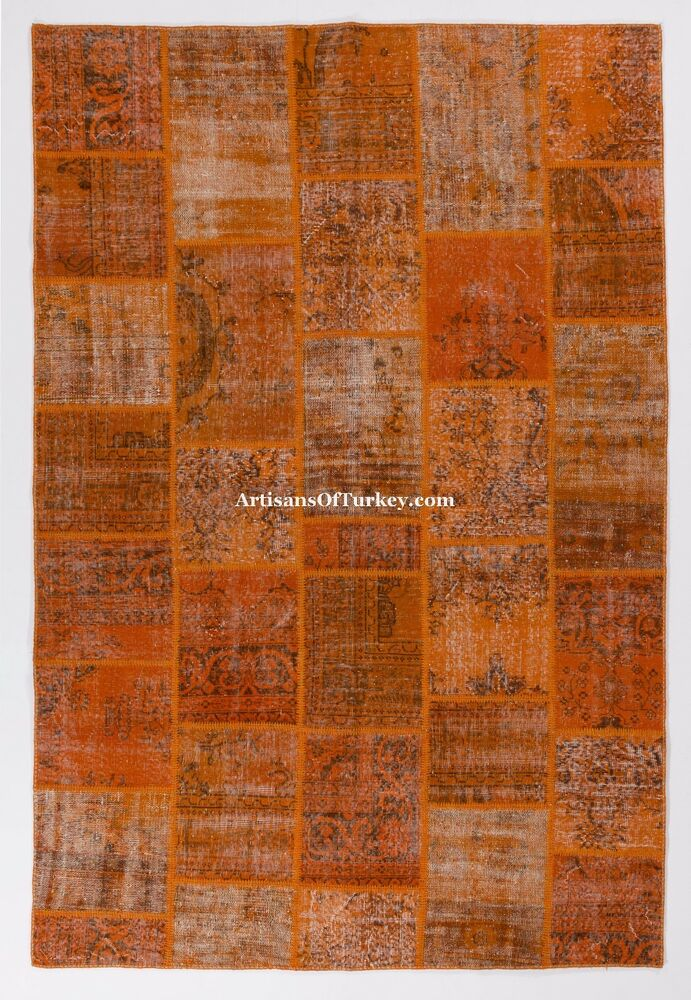 Burnt Orange Color Patchwork Rug Handmade From Overdyed