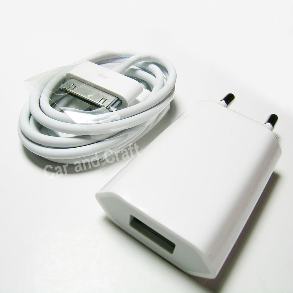 Genuine Apple iPhone 4 4S 4GS EU Charger Adapter+USB Cable ...