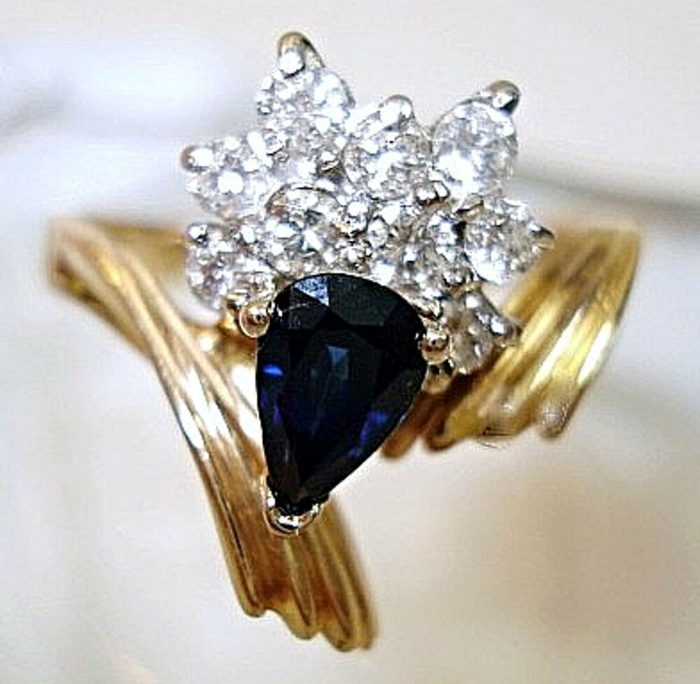 Vintage fine jewelry 14 kt sapphire diamond ring size 7 for What is fine jewelry