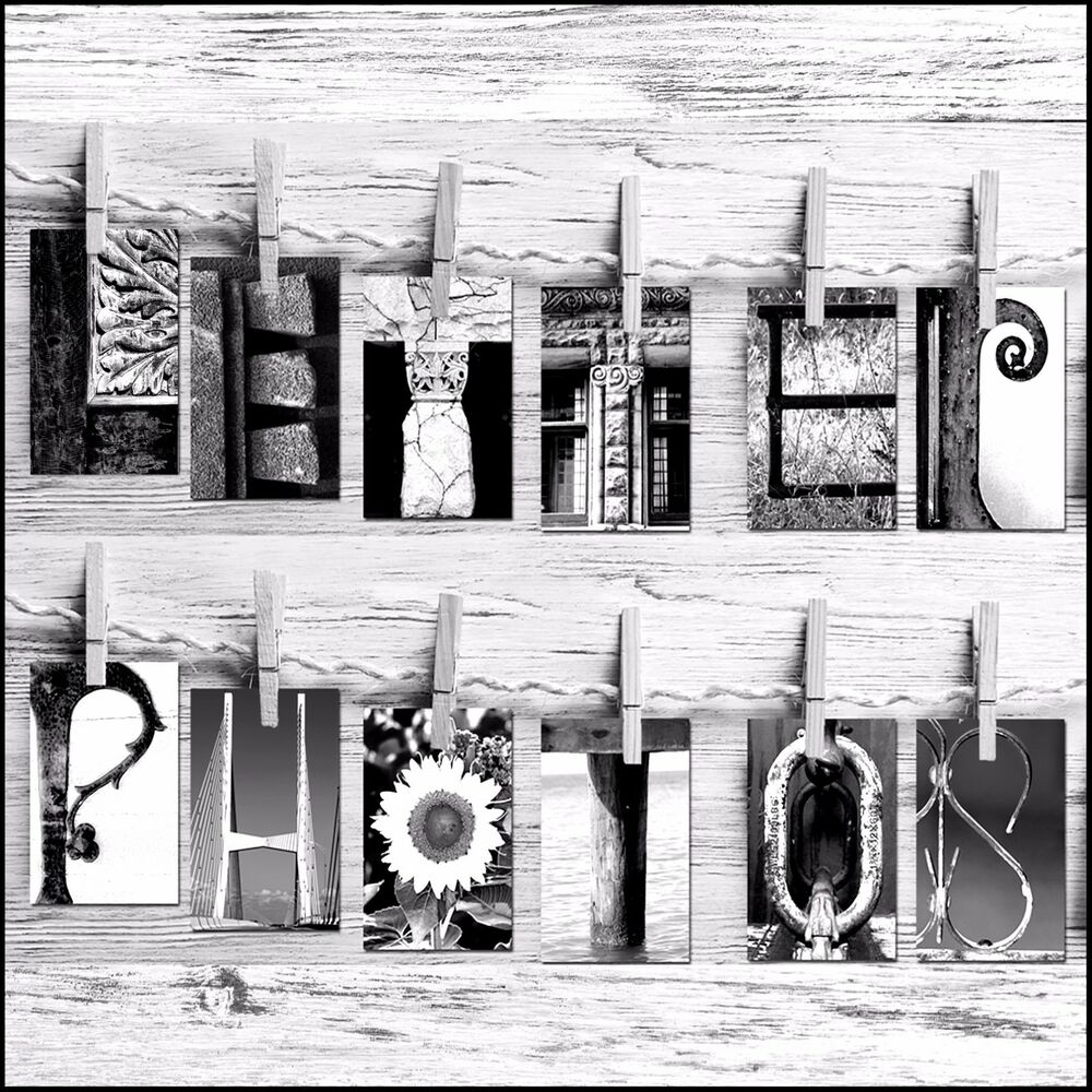 Letter Art Personalized Gift 4x6 Prints BW Free Same Day