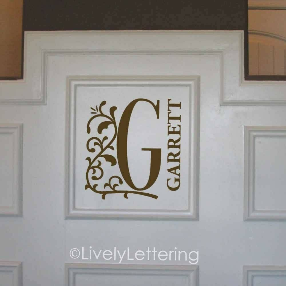 floral initial name wall decal vinyl lettering sticker With vinyl lettering wall decals