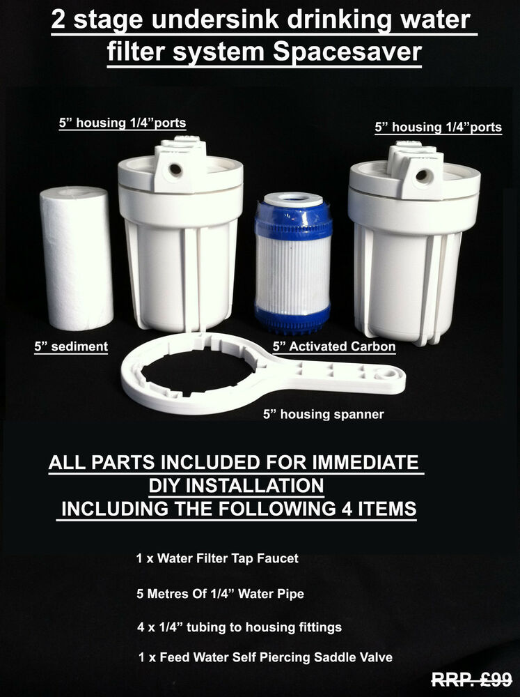 Undersink Drinking Water Filter System Spacesaver Removes